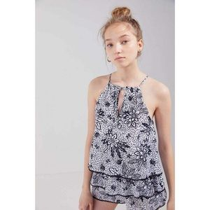 UO Kendal Keyhole Cutout Tiered Romper